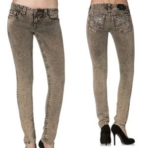 Miss Me 26 Olive Skinny Jeans Studded TP5724S1
